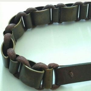 Ibel VINTAGE Rope Leather Antique Brass Belt Italy